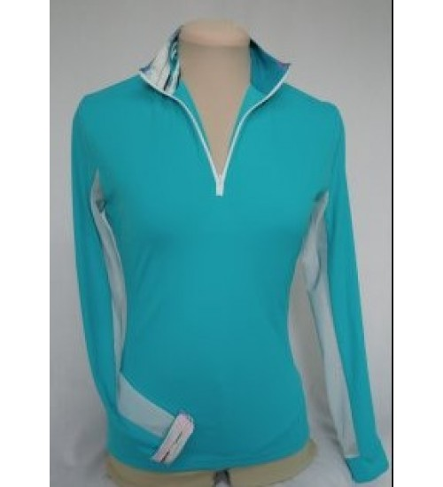 Shirt Arinna turquoise long sleeves